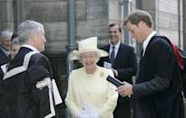 <p>The Queen travelled to St Andrews for her grandson's graduation. Pictured here with Principal Brian Lang William. (PA Images)</p>