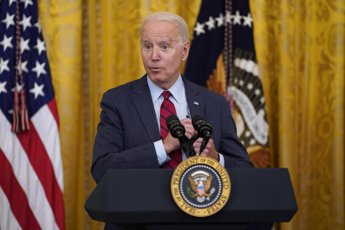 President Biden discusses infrastructure negotiations in the White House on Thursday.