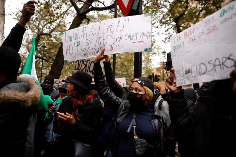 People protest outside the Nigerian High Commission in London