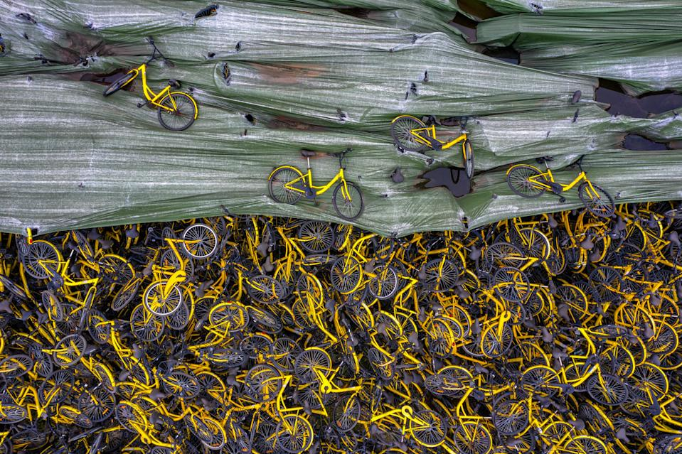 Thousands of Ofo sharing bicycles are seen piled up at an open area on 14 January, 2019, in Chengdu, Sichuan Province of China. (PHOTO: VCG via Getty Images)