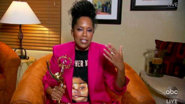 PHOTO: In this video grab, Regina King accepts the award for outstanding lead actress in a limited series or movie for 'Watchmen' during the 72nd Emmy Awards broadcast airing on ABC, Sept. 20, 2020. (ABC via AP)