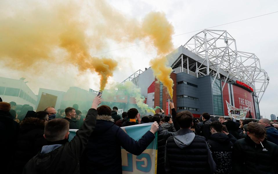 Fans gathered to protests against the Glazers - Tom Jenkins