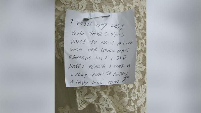 Charity Shop Finds Mystery Widower Who Pinned Heartfelt Note to Wedding Gown