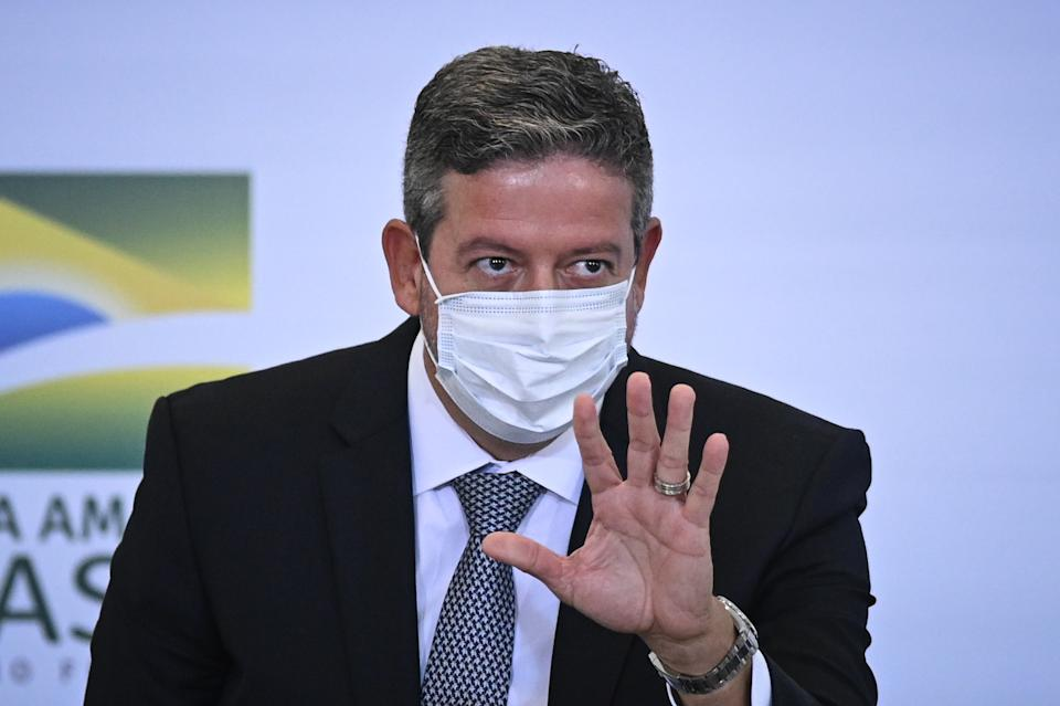 President of Brazil's Lower House Arthur Lira gestures as he arrives for the launch ceremony of the platform Participa + Brasil, at the Planalto Palace, in Brasilia, Brasil, on February 8, 2020. (Photo by Andre Borges/NurPhoto via Getty Images)