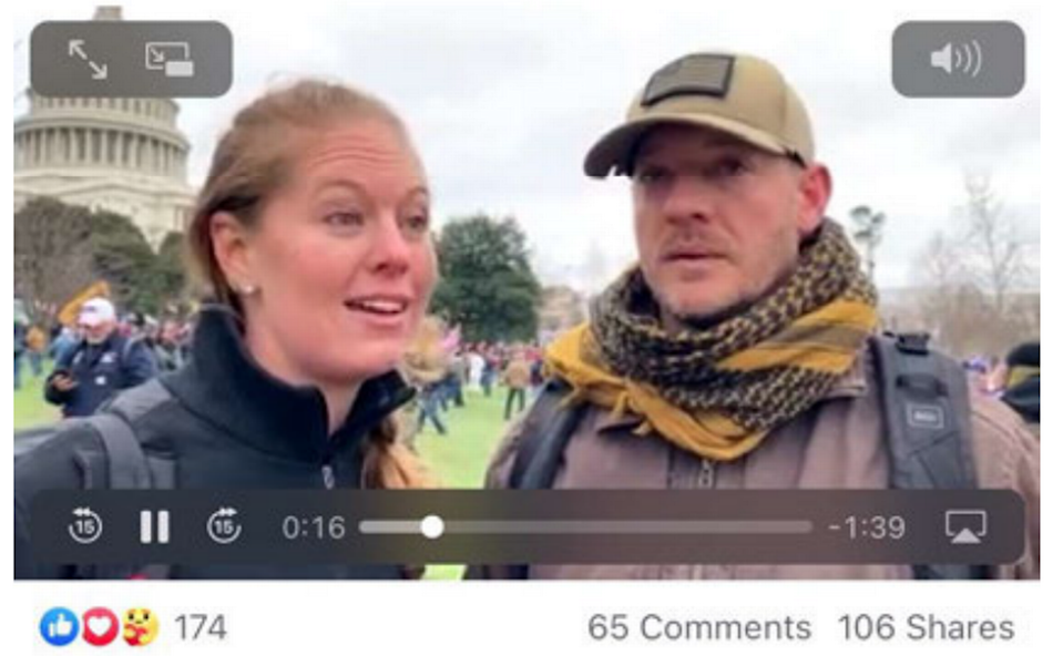 In this Facebook image included in an FBI document, Bradley Stuart Bennett and Elizabeth Rose Williams stand outside the U.S. Capitol on Jan. 6, 2021. Both have been charged in the assault on the building.