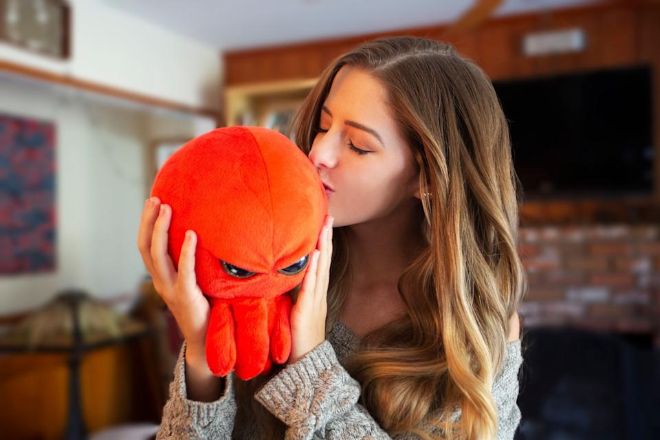 """Stuffed animals are usually happy. But this is 2020 -- the rules have changed. That means snuggling with a <a href=""""https://thegrumpyoctopus.com/"""" target=""""_blank"""" rel=""""noopener noreferrer"""">grumpy octopus</a> instead of a teddy bear."""