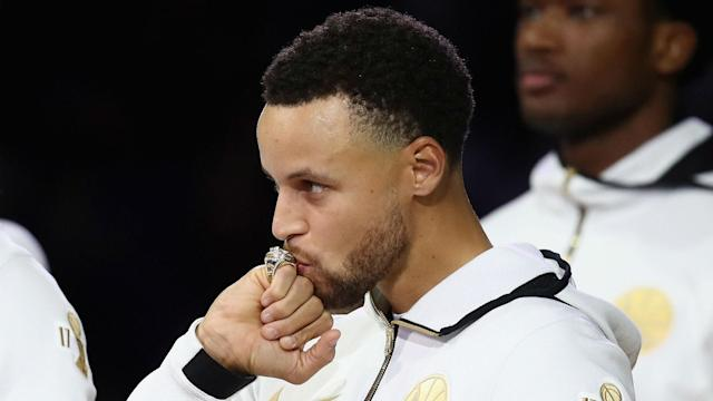 "Stephen Curry does not expect to get apathetic about celebrating titles, but hopes someone ""smacks some sense into me"" if he does."