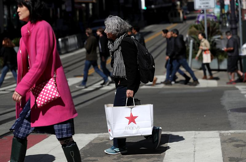 SAN FRANCISCO, CA - FEBRUARY 27: A shopper carries a shopping bag while walking in the Union Square district on February 27, 2018 in San Francisco, California. The U.S. consumer confidence index surged to 130.80 in February, its highest level since November 2000. (Photo by Justin Sullivan/Getty Images)