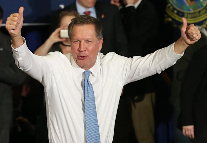 <p>Republican presidential candidate Gov. John Kasich of Ohio addresses supporters at his New Hampshire presidential primary-night rally in Concord, N.H., on Feb. 9, 2016. (Mary Schwalm/Reuters)</p>