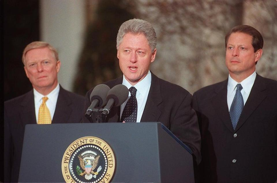 Bill Clinton addresses the nation on 19 December 1998 after the US House of Representatives impeached him on charges of perjury and obstruction of justice (GEORGE BRIDGES/AFP via Getty Images)