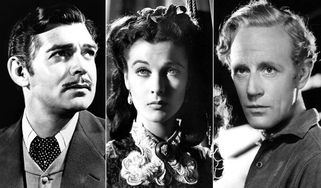 """""""Gone With the Wind"""": Why can't Scarlett (Vivien Leigh) just love Rhett (Clark Gable) wholeheartedly when he's so obviously a better catch than Ashley (Leslie Howard)? She can't -- and that's what makes for a classic triangle."""