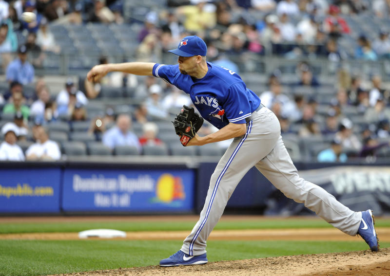 In this May 18, 2013, photo, Toronto Blue Jays relief pitcher Steve Delabar throws against the New York Yankees during a baseball game in New York. Atlanta first baseman Freddie Freeman and Toronto reliever Delabar have won the fan voting for the last spots in the All-Star game. (AP Photo/Kathy Kmonicek)