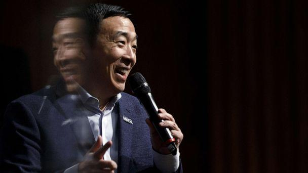 PHOTO: Democratic presidential candidate Andrew Yang delivers remarks during a campaign event at the University of Iowa on Jan. 29, 2020, in Iowa City, Iowa. (Tom Brenner/Getty Images, FILE)