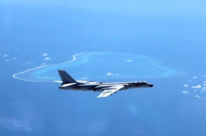 Chinese H-6K bomber patrolling islands and reefs including Huangyan Island in the South China Sea