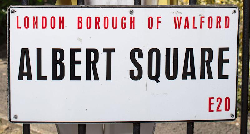 Close up detail of an Albert Square sign on the set of <i>EastEnders</i>. (BBC)
