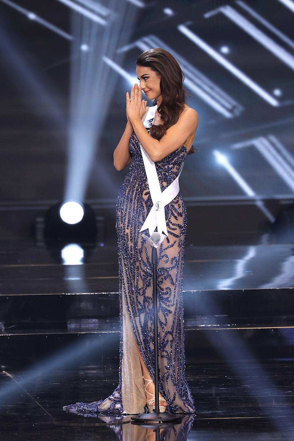 HOLLYWOOD, FLORIDA - MAY 16: Miss Universe Brazil Julia Gama appears onstage at the Miss Universe 2021 Pageant at Seminole Hard Rock Hotel & Casino on May 16, 2021 in Hollywood, Florida. (Photo by Rodrigo Varela/Getty Images)