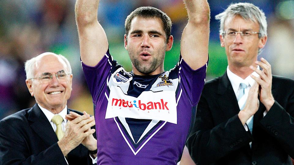 Cameron Smith, pictured here with David Gallop after the 2007 NRL grand final.