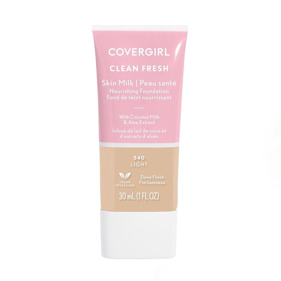 """If you're looking for a clean, affordable option, this paraben, sulfate, and phlalate-free foundation is a prime pick. It's the kind of lightweight, nourishing formula that's perfect for the makeup minimalist of the Zoom era, and gives my skin a dose of moisture for that dewiness I'm a true sucker for. –<em>Erin Parker, commerce writer</em> $12, CoverGirl. <a href=""""https://shop-links.co/1734690908322657180"""" rel=""""nofollow noopener"""" target=""""_blank"""" data-ylk=""""slk:Get it now!"""" class=""""link rapid-noclick-resp"""">Get it now!</a>"""