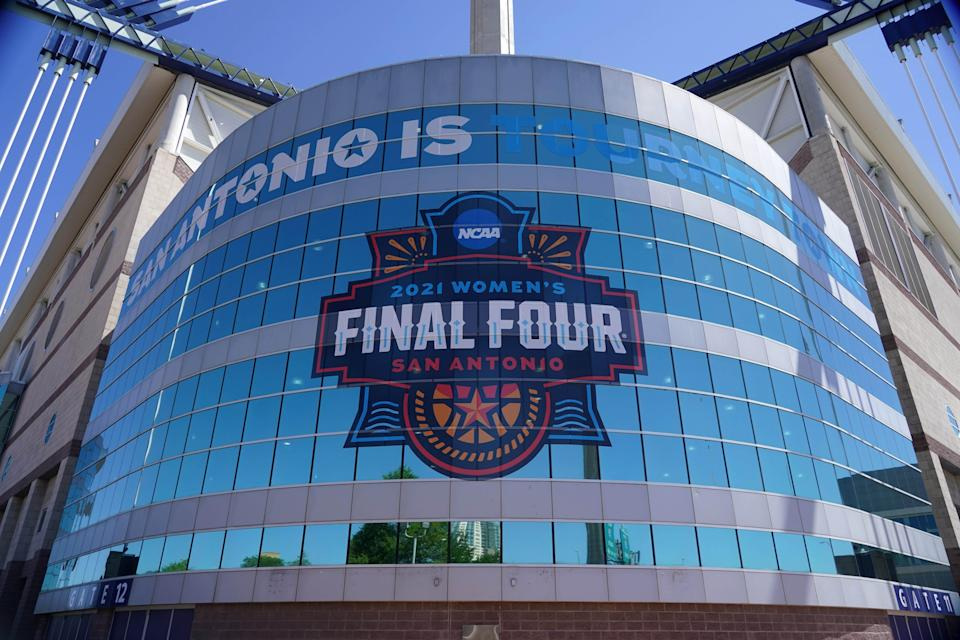 A detailed view of the 2021 NCAA Women's Final Four logo at the Alamodome.