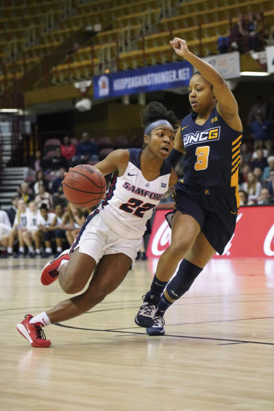 Samford Raven Omar (22) drives the ball against UNC Greensboro Alexis Pitched (3) in the first half of an NCAA women's college basketball game for the Southern Conference championship tournament, Sunday, March 8, 2020, in Asheville, N.C. (AP Photo/Kathy Kmonicek)