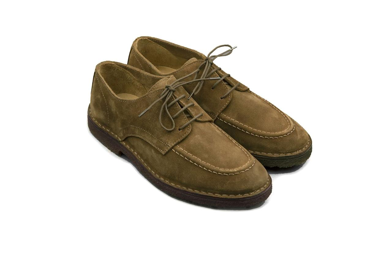 """$375, Drake's. <a href=""""https://www.drakes.com/usa/what-s-new/chard-moc-toe-derby-shoe-tobacco-suede"""">Get it now!</a>"""