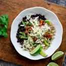 <p>Simple brown rice and black beans serve as the backdrop for sautéed veggies and taco toppings!</p>