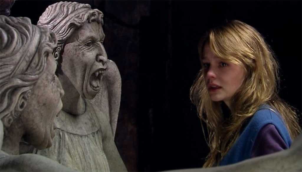 "<p class=""MsoNormal""><b>3. ""Blink,"" Doctor Who</b><br><br>The other top vote-getter in our scary-episodes Facebook poll, ""Blink"" trades on the terror of what we DON'T see. The villains of ""Blink,"" the Weeping Angels, appear to be statues, but they only assume stone form when they're looked at. (They even cover their own eyes, to avoid looking at each other and triggering the effect.) When they're unobserved, they can move at lightning speed, feeding off the ""time energy"" of other creatures and sending humans back in time to before they were born. The Angels' resemblance to graveyard statuary ups the creepy factor, but the episode got its scary reputation from the feeling that something bad is happening just out of the corner of your eye. And the effect is cumulative; many viewers report trying <a target=""_blank"" href=""http://tomatonation.com/culture-and-criticism/all-time-scariest-tv-episodes/"">not to blink at all</a> themselves while watching it.</p>"