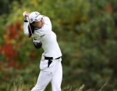 Jin Young Ko, of South Korea, watches her tee shot on the 14th hole during the final round of the LPGA Cambia Portland Classic golf tournament in West Linn, Ore., Sunday, Sept. 19, 2021. (AP Photo/Steve Dipaola)
