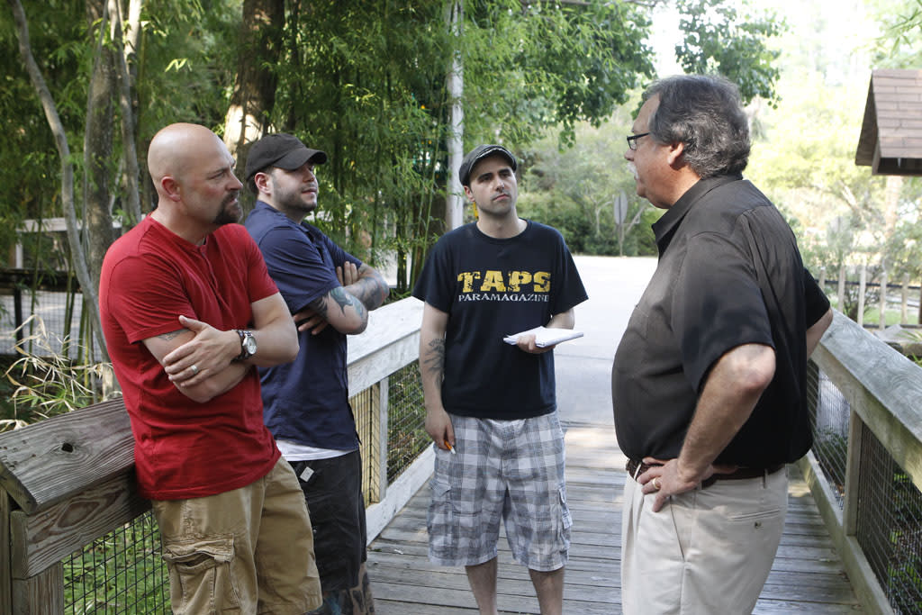 "Jason Hawes, Steve Gonsalves and Dave Tango in the ""Ghost Hunters"" episode, ""Don't Feed the Apparition."""