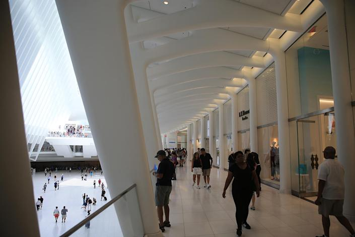 <p>People walk through the Oculus mall at World Trade Center on Monday, August 22, 2016. (Gordon Donovan/Yahoo News) </p>
