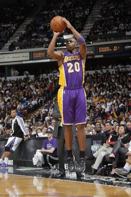 SACRAMENTO, CA - DECEMBER 6: Jodie Meeks #20 of the Los Angeles Lakers shoots the ball against the Sacramento Kings at Sleep Train Arena on December 6, 2013 in Sacramento, California. (Photo by Rocky Widner/NBAE via Getty Images)