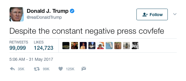 President Trump's confusing Tuesday-night tweet. (Photo: Twitter)