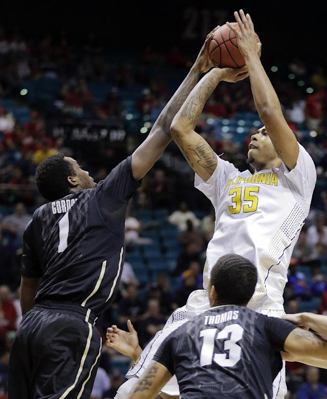 California's Richard Solomon (35) shoots over Colorado's Wesley Gordon (1) in the first half of an NCAA Pac-12 conference tournament college basketball quarterfinal game, Thursday, March 13, 2014, in Las Vegas. (AP Photo/Julie Jacobson)