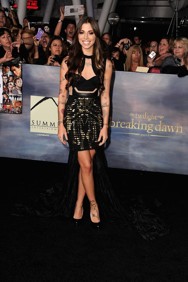 """Christina Perri arrives at """"The Twilight Saga: Breaking Dawn - Part 2"""" Los Angeles premiere at Nokia Theatre L.A. Live on November 12, 2012 in Los Angeles, California.  (Photo by Steve Granitz/WireImage)"""