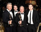 <p>Alec Baldwin, who won for Outstanding Supporting Actor in a Comedy Series for <em>SNL</em>, celebrated with show helmer Lorne Michaels, who had his own trophy for Outstanding Variety Sketch Series. (Photo: Kevin Winter/Getty Images) </p>