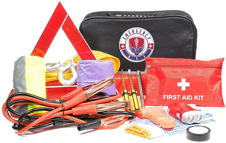 "<h2>Roadside Assistance Kit</h2>An emergency kit made especially to store in your car, because there's no reason to let a bump or two in the road derail your trip. This one's got jumper cables, a first-aid kit, flashlight, tools, hi-vis gear, and anything else you might need.<br><br><strong>WNG Brands</strong> Roadside Assistance Emergency Car Kit, $, available at <a href=""https://amzn.to/2ElbRqi"" rel=""nofollow noopener"" target=""_blank"" data-ylk=""slk:Amazon"" class=""link rapid-noclick-resp"">Amazon</a>"