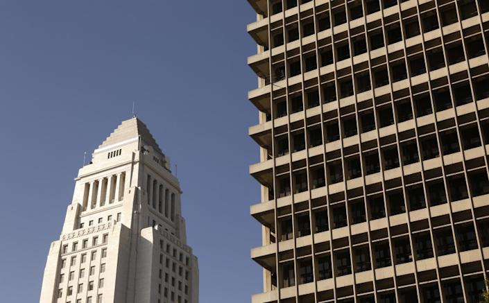 """The Clara Shortridge Foltz Criminal Justice Center and other Los Angeles Superior Court buildings are off-limits to the general public because of the coronavirus public health emergency. <span class=""""copyright"""">(Los Angeles Times)</span>"""