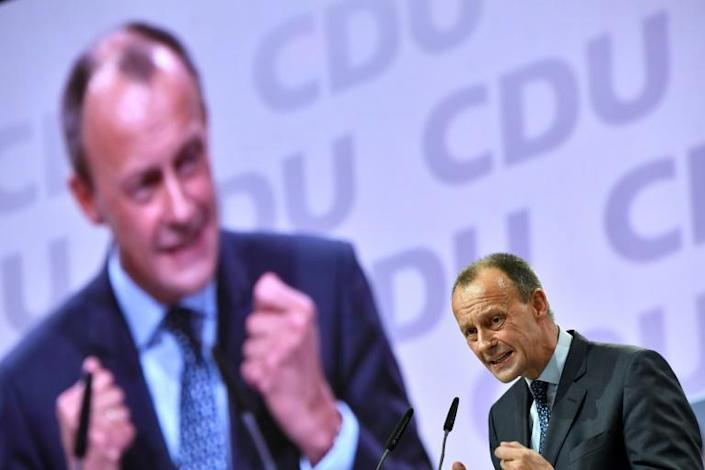 Friedrich Merz is the more popular choice among party members (AFP Photo/John MACDOUGALL)