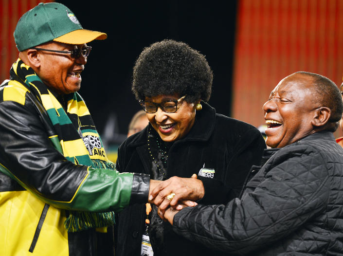 <p>Struggle icon Winnie Madikizela-Mandela with President Jacob Zuma and his deputy, Cyril Ramaphosa, during the African National Congress national policy conference on July 1, 2017, in Johannesburg, South Africa. The conference is a gathering of about 3,500 delegates from branches across the country to discuss the party's policies. (Photo: Muntu Vilakazi/Foto24/Gallo Images/Getty Images) </p>