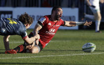 Crusaders Bryn Hall reacts as he loses the ball as he was about to score a try during the Super Rugby Aotearoa rugby game between the Crusaders and the Highlanders in Christchurch, New Zealand, Sunday, Aug. 9, 2020. (AP Photo/Mark Baker)