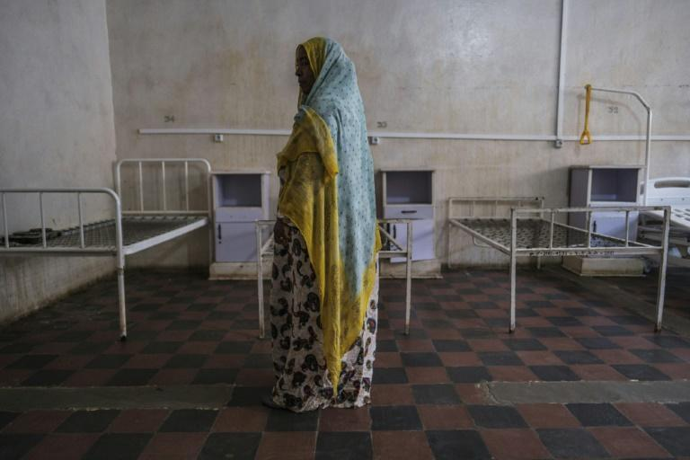A woman pictured last month at the general hospital in the Tigrayan town of Wukro. The hospital's beds were looted, allegedly by Eritrean forces