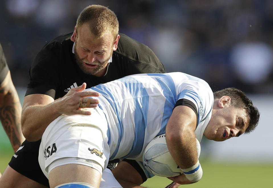 Argentina's Matias Alemanno, right, is tackled by New Zealand's Joe Moody during their Tri-Nations rugby union test at Western Sydney Stadium, in Sydney, Saturday, Nov. 14, 2020. Argentina won the test 25-15. (AP Photo/Rick Rycroft)