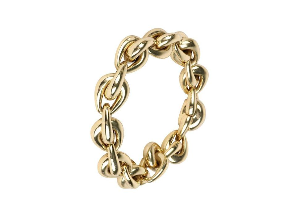 """<p><a class=""""link rapid-noclick-resp"""" href=""""https://dinosaurdesigns.co.uk/collections/louise-olsen/products/louise-olsen-hug-chain-bracelet-brass"""" rel=""""nofollow noopener"""" target=""""_blank"""" data-ylk=""""slk:SHOP NOW"""">SHOP NOW</a></p><p>Australian designer Louise Olsen creates fluid, sculptural pieces that are as much about art as they are about adornment. </p><p>Chain bracelet, £360, Louise Olsen at <a href=""""https://dinosaurdesigns.co.uk"""" rel=""""nofollow noopener"""" target=""""_blank"""" data-ylk=""""slk:Dinosaur Designs"""" class=""""link rapid-noclick-resp"""">Dinosaur Designs</a></p>"""