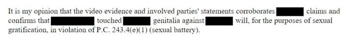 Text from a report says a detective believes that the evidence supports a detainee's claims of sexual battery