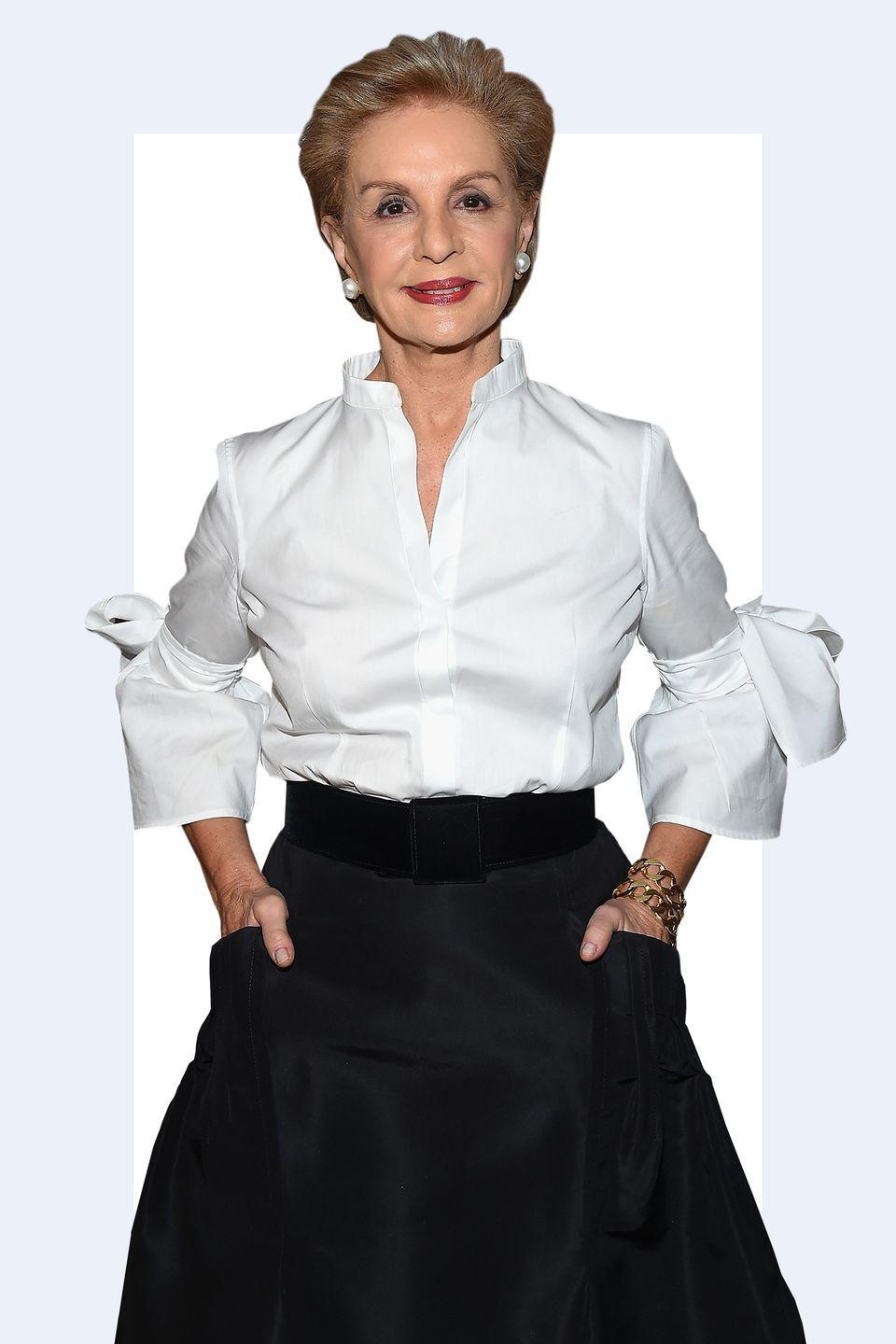 """<p>""""Carolina Herrera wears a <strong>white button down with a ball gown skirt</strong> and it's so chic. It's sort of unexpected to pair those two items together but it works really well."""" -<em><a rel=""""nofollow noopener"""" href=""""http://theonly.agency/negar-ali-kline"""" target=""""_blank"""" data-ylk=""""slk:Negar Ali Kline"""" class=""""link rapid-noclick-resp"""">Negar Ali Kline</a></em></p>"""
