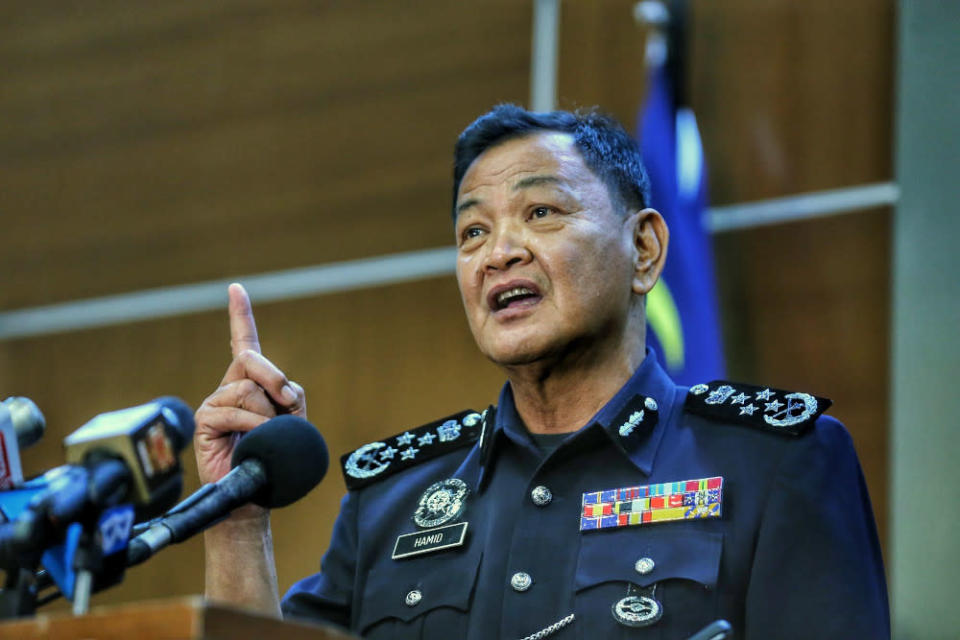 Inspector-General of Police Tan Sri Abdul Hamid Bador during his last press conference at Bukit Aman. He is set to retire when his contract expires on May 3, after serving two years as police chief April 30, 2021. — Picture by Ahmad Zamzahuri