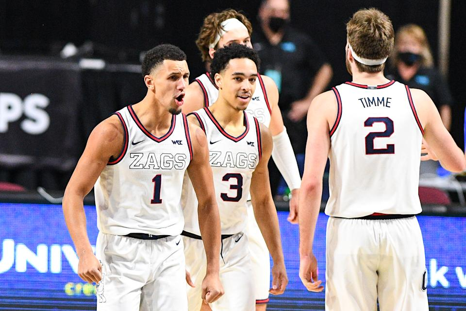 Gonzaga guard Jalen Suggs (1), Gonzaga guard Andrew Nembhard (3) celebrate during the championship game of the men's West Coast Conference basketball tournament between the BYU Cougars and the Gonzaga Bulldogs on March 9, 2021, at the Orleans Arena in Las Vegas, NV. (Photo by Brian Rothmuller/Icon Sportswire via Getty Images)