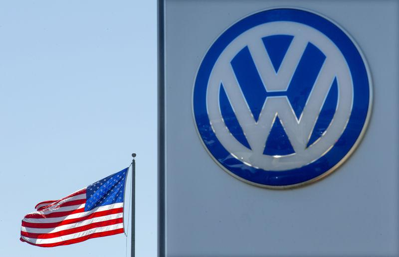 FILE PHOTO: An American flag flies next to a Volkswagen car dealership in San Diego, California