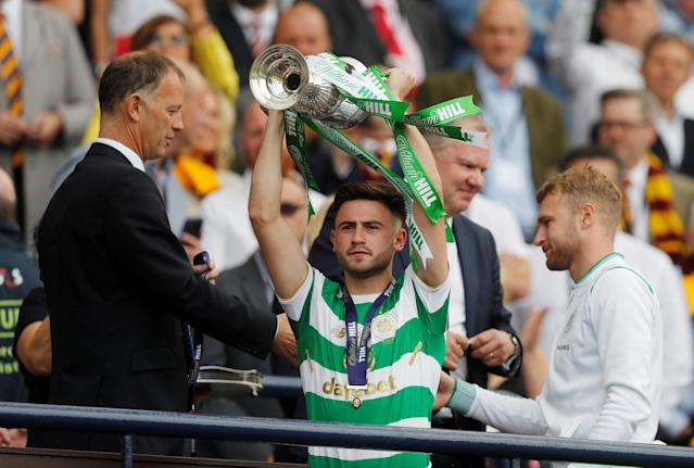 Soccer Football - Scottish Cup Final - Celtic vs Motherwell - Hampden Park, Glasgow, Britain - May 19, 2018 Celtic's Patrick Roberts celebrates with the trophy after winning the Scottish Cup REUTERS/Russell Cheyne