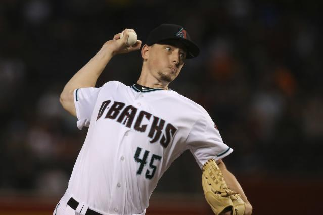 Arizona Diamondbacks starting pitcher Taylor Clarke throws against the San Diego Padres during the first inning of a baseball game Friday, Sept. 27, 2019, in Phoenix. (AP Photo/Ross D. Franklin)